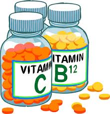 cartoon vitamin bottles